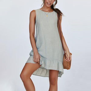 Maternity Plain O-Neck Sleeveless Falbala Casual Dress