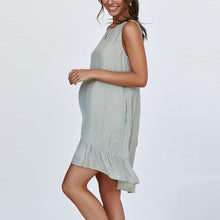 Load image into Gallery viewer, Maternity Plain O-Neck Sleeveless Falbala Casual Dress