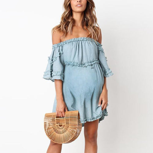 Maternity Plain Off Shoulder Falbala Casual Above Dress