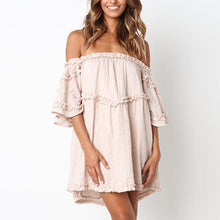 Load image into Gallery viewer, Maternity Plain Off Shoulder Falbala Casual Above Dress
