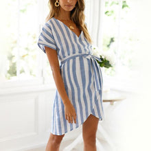 Load image into Gallery viewer, Maternity V-Neck Stripe Tie Casual Dress