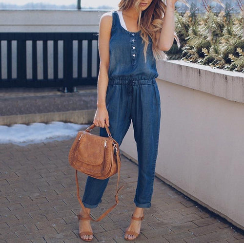Maternity Casual Pure Colour Sleeveless Elastic Jumpsuit