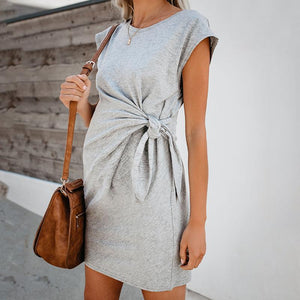 Maternity Casual Round Neck Belted Pure Colour Dress
