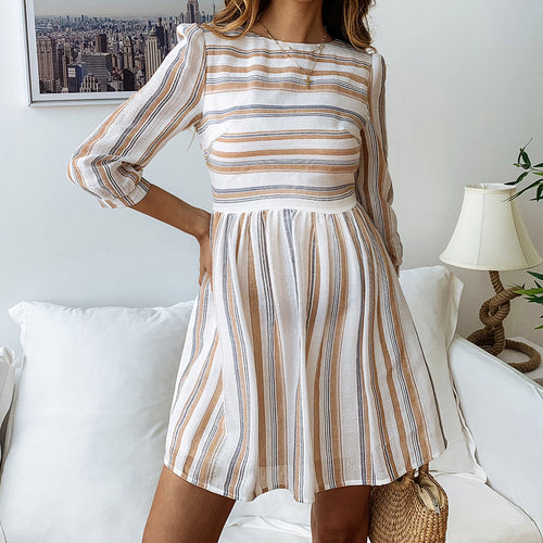 Maternity Stripe Printing Round Collar Middle Sleeve Dress