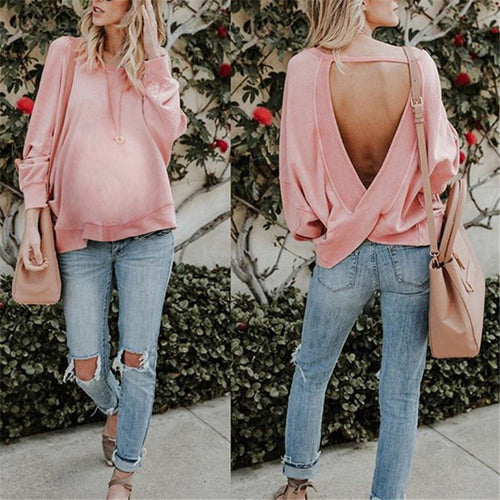 Maternity Solid Color Backless Irregular Top
