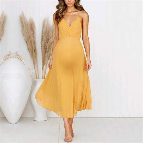 Maternity Solid Color Strap V-Neck Wrap Dress