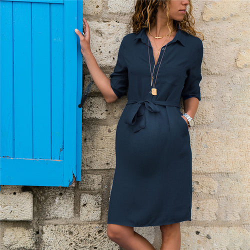 Maternity Solid Color Cropped Sleeve Shirt Dress