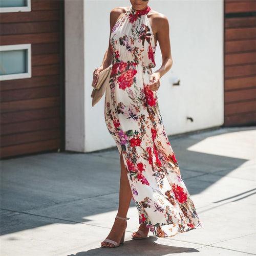 Maternity Floral Printed Sleeveless Halter Maxi Dress