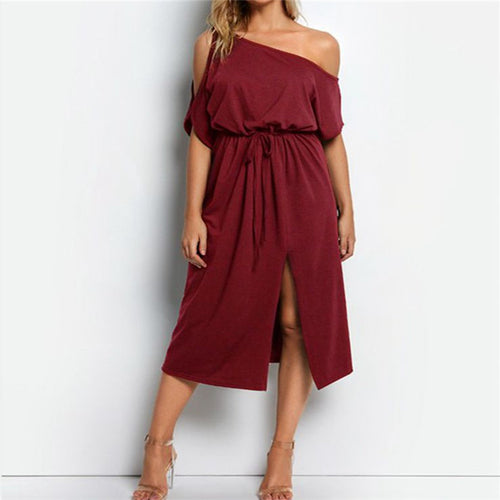 Maternity Plain One Shoulder Lace-Up Split Dress