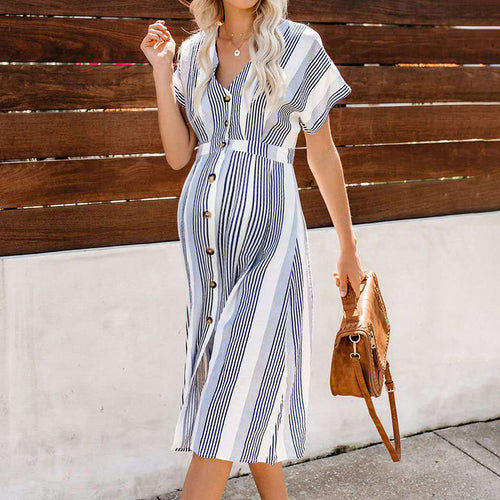 Maternity Striped Printed Single-Breasted Dress