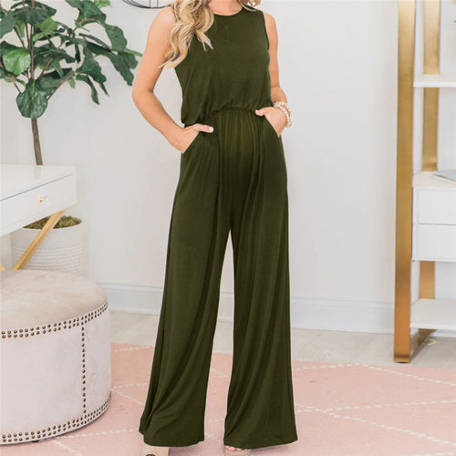 Maternity Loose Casual Pocketed Sleeveless Wide Leg Jumpsuit