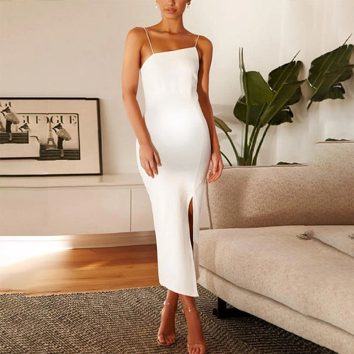 Maternity White Bare Back Long Tight Sleeveless Dress