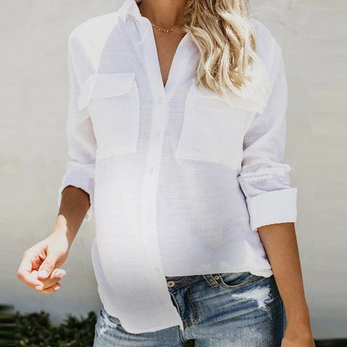 Maternity Cotton And Linen Long-Sleeved Shirt Top