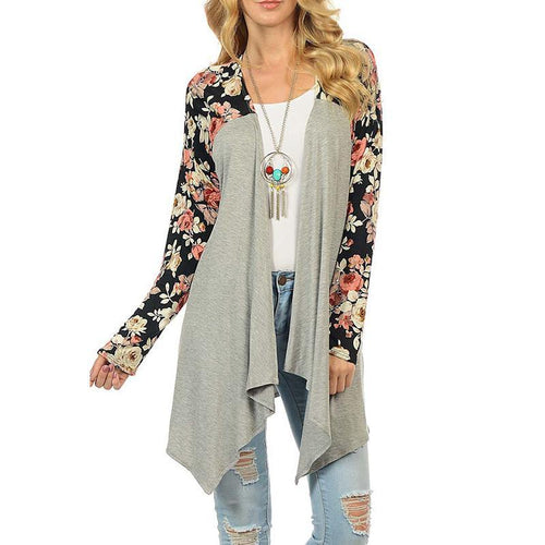 Collarless  Asymmetric Hem  Color Block Floral Printed Cardigans
