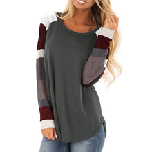 Load image into Gallery viewer, Round Neck Print Multicolor Stitching Long Sleeve T-Shirt