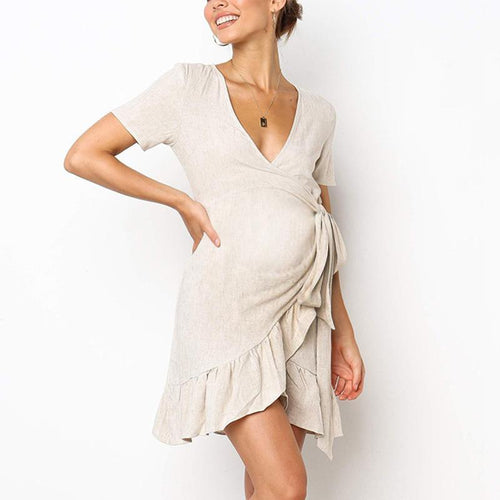 Maternity Plain Deep V Ruffle Lacing Dress
