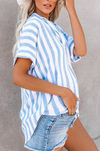 Maternity Casual Striped Short Sleeve Shirt
