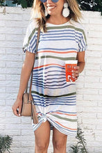 Load image into Gallery viewer, Maternity Stripe Short Sleeve Round Neck Dress