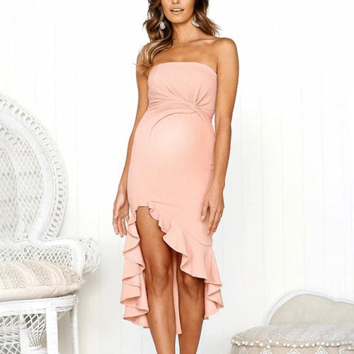 Maternity Sexy Ruffle Backless Plain Wrapped Chest Dress