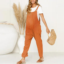 Load image into Gallery viewer, Maternity  Vintage  Round Neck Short Sleeve Pure Colour Jumpsuit