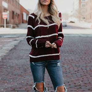 Round Neck  Color Block Striped Sweaters