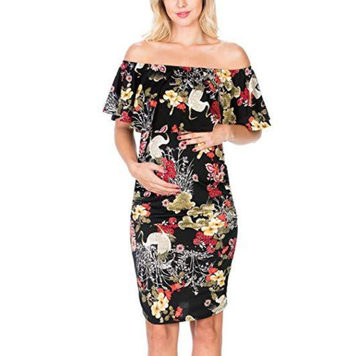 Maternity Floral Print Off Shoulder Bodycon Dress