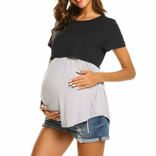 Maternity Casual Color Block Patchwork Breast-Feeding T-Shirt