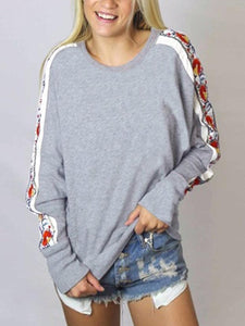 Long Sleeved Side Printed Round Neck Splice Vest Hoodies
