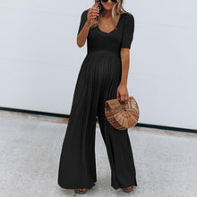 Load image into Gallery viewer, Maternity Solid Color Short Sleeve Wide Leg Jumpsuit