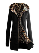 Load image into Gallery viewer, Patch Pocket  Decorative Button  Leopard Hoodie