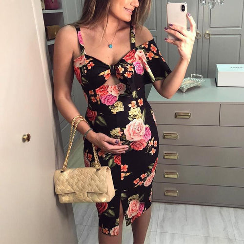 Maternity Printed Midi Dress