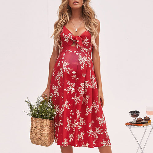 Maternity Sexy Printed Sling Dress