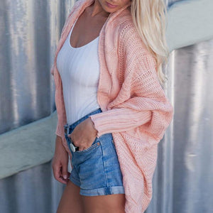 Irregular Bat Sleeve Twist Braiding Knit Cardigan