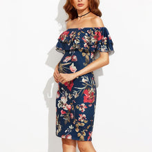 Load image into Gallery viewer, Maternity Sexy Off The Shoulder Print Bodycon Dress