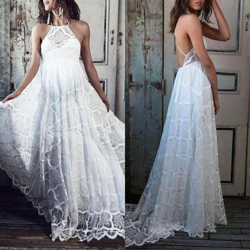 Maternity Halter Backless Lace Wedding Dress