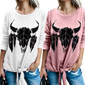Printed Short Sweater Long Sleeve Round Neck T-Shirt
