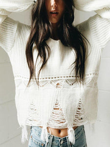 New Hem Fringed Women's Sweater