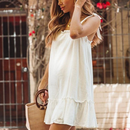 Maternity Cotton And Linen Lace Solid Color Mini Dress