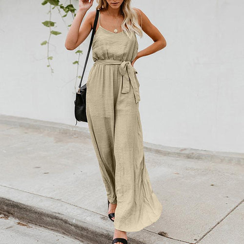 Maternity Plain Sling Strap Loose Jumpsuit