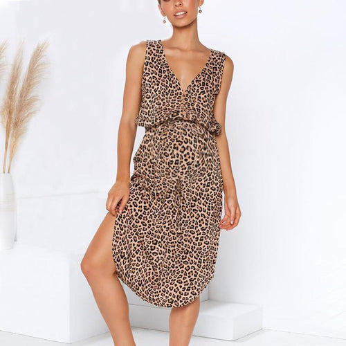 Maternity V-Neck Leopard Printing Tie Casual Dress