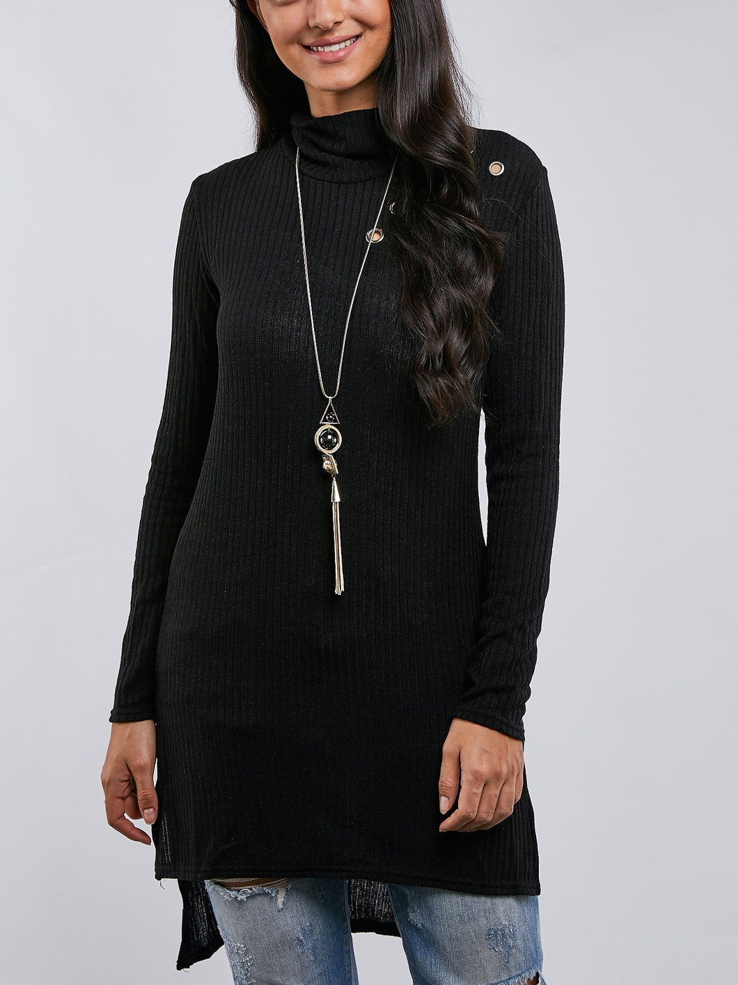 Solid Colour High Neck Long Sleeve Dress