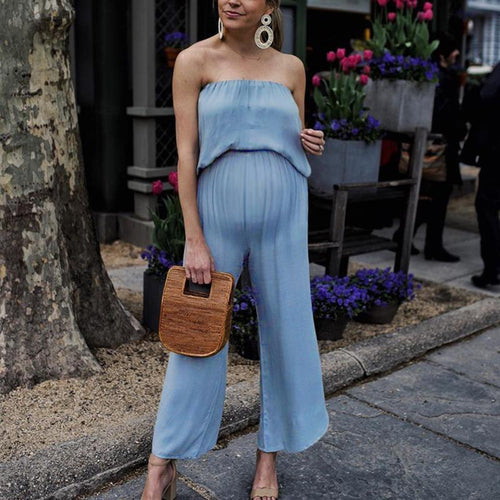 Maternity Plain Off Shoulder Loose Jumpsuit