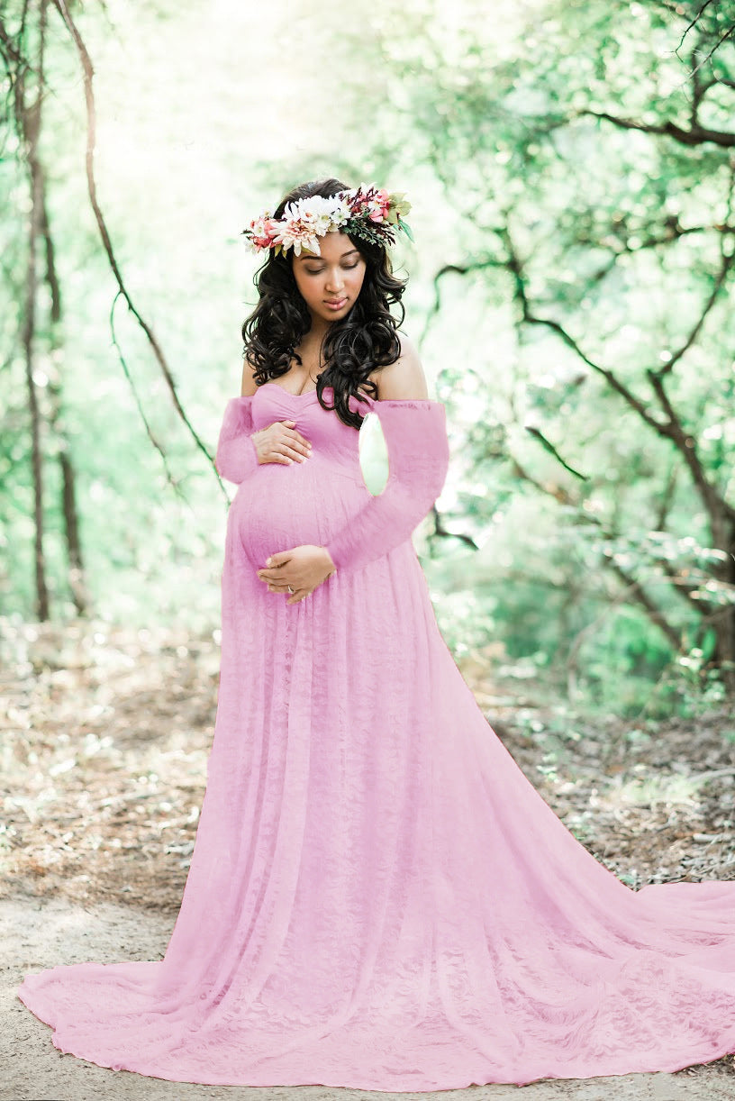 f237403cb201 Long Sleeve Lace Maternity Gown - raveitsafe