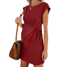 Load image into Gallery viewer, Maternity Casual Round Neck Belted Pure Colour Dress