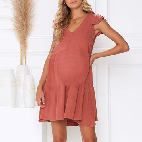 Maternity Plain V-Neck Loose Casual Falbala  Dress