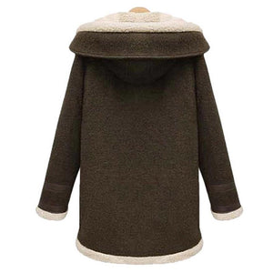 Women Soft Warm Woolen Thicker Long Hooded Overcoat Outerwear
