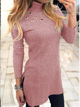 Load image into Gallery viewer, Solid Colour High Neck Long Sleeve Dress