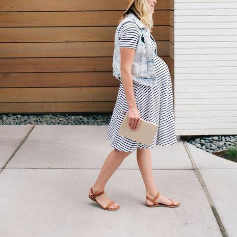 Maternity Striped Short Sleeve Casual Dress