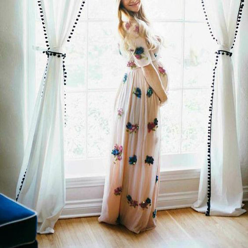 Maternity Printed Short Sleeve Maxi Dress