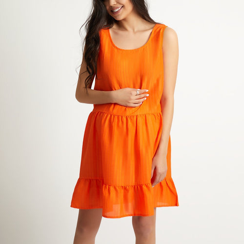 Maternity Orange Sleeveless Mini Dress